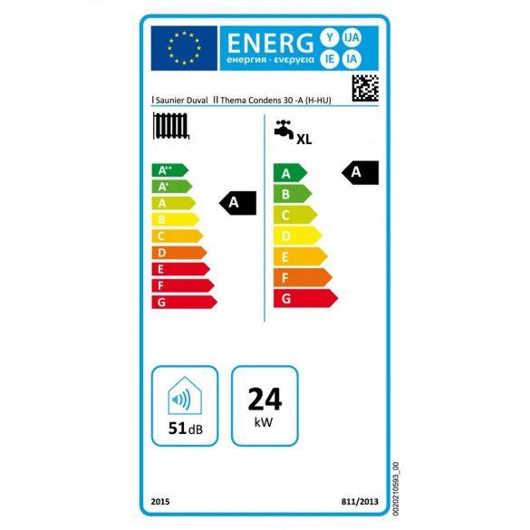 Energiacímke a SAUNIER DUVAL Thema Condens 30-A kondenzációs kombi (cirkó) gázkazánhoz