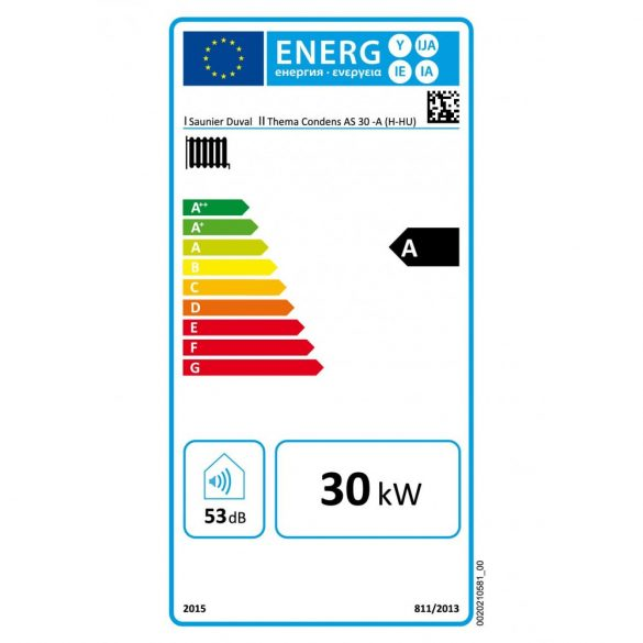 Energiacímke a SAUNIER DUVAL Thema Condens AS 30-A kondenzációs fűtő (cirkó) gázkazánhoz