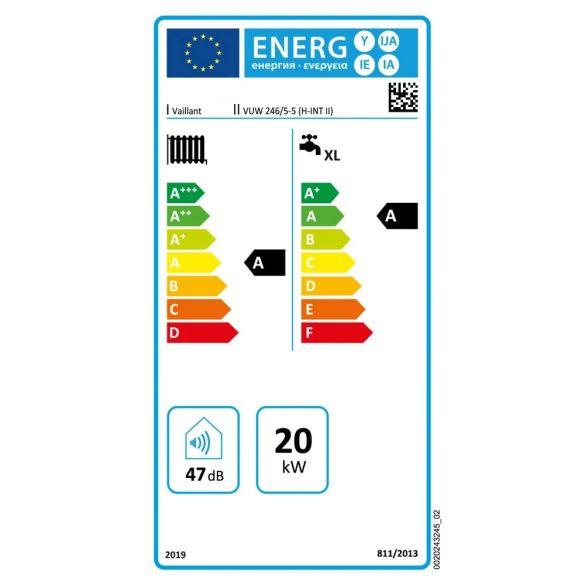 Energiacímke a VAILLANT ecoTEC Plus VUW 246/5-5 (H-INT II) kondenzációs kombi (cirkó) gázkazánhoz