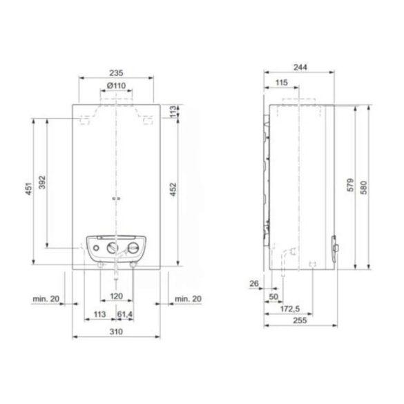 SAUNIER DUVAL Opalia C mini 11/1 LI ERP átfolyós vízmelegítő, gázüz, kéményes, 11l