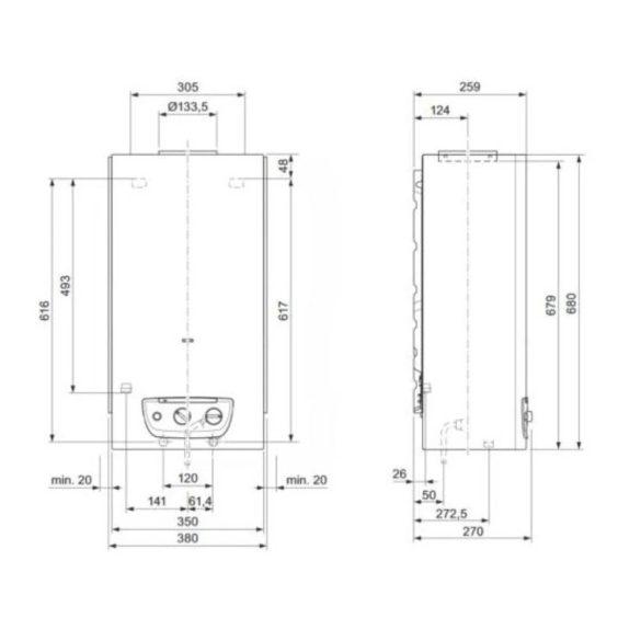 SAUNIER DUVAL Opalia C 14/1 LI ERP átfolyós vízmelegítő,gázüz,kéményes,14l