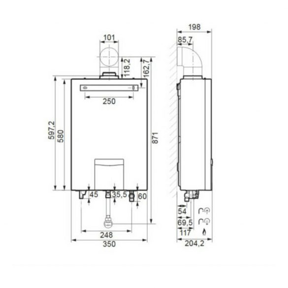 VAILLANT TurboMAG plus HU ERP 155/1-5 RT átfolyós vízmelegítő, gázüzemű, 24.4kW