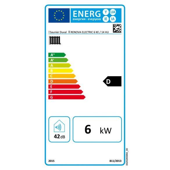 Energiacímke a SAUNIER DUVAL Renova Electric 6 kW-os elektromos fali fűtőkazánhoz