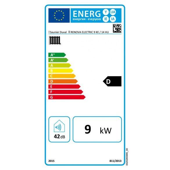 Energiacímke a SAUNIER DUVAL Renova Electric 9 kW-os elektromos fali fűtőkazánhoz