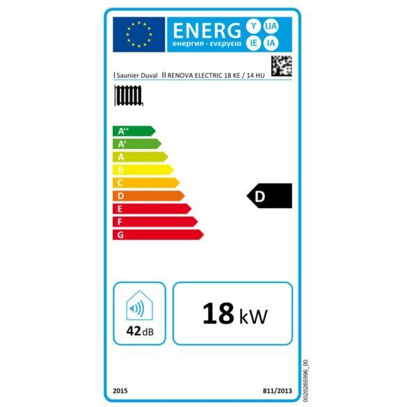 Energiacímke a SAUNIER DUVAL Renova Electric 18 kW-os elektromos fali fűtőkazánhoz