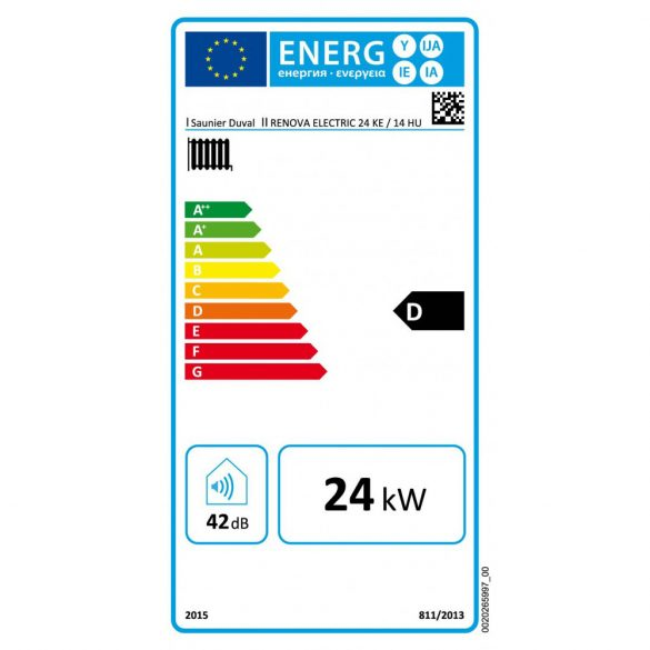 Energiacímke a SAUNIER DUVAL Renova Electric 24 kW-os elektromos fali fűtőkazánhoz