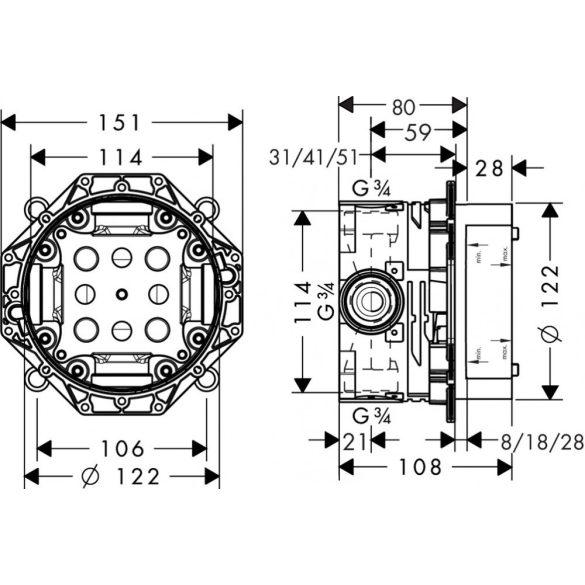 HANSGROHE iBox Universal alaptest falsík alatti szereléshez