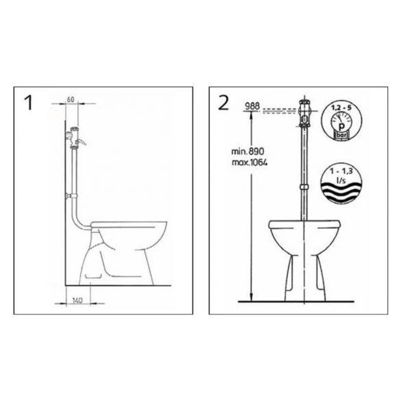 """SCHELL WC öblítő szelep, sárgaréz szelepfelsőrésszel, króm, 3/4"""""""
