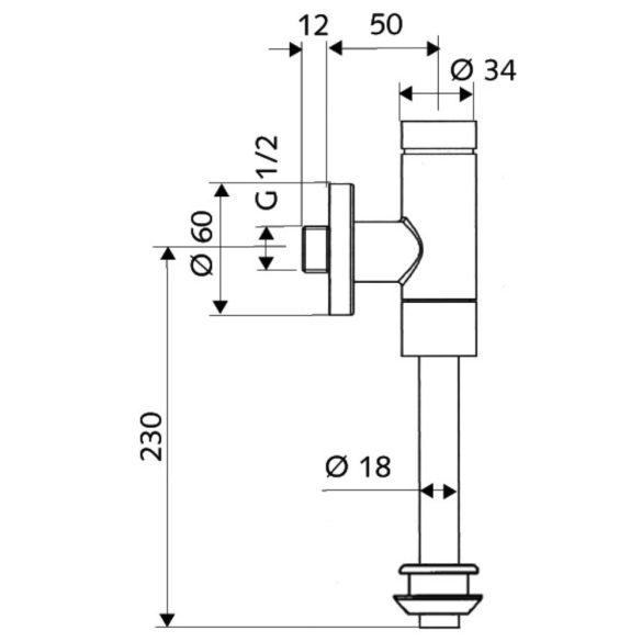"""SCHELL SCHELLOMAT Basic piszoár öblítő szelep, nyomógomb vezérlés, gumi csatlakozás, 1/2"""""""