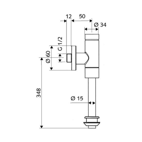 """SCHELL Basic piszoár öblítő szelep, nyomógomb vezérlés, takaró harang csatlakozás, 1/2"""""""