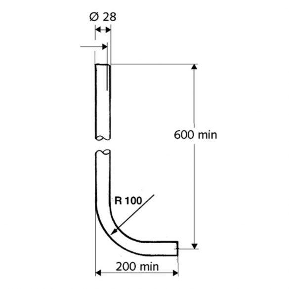 SCHELL W öblítő cső, krómozott sárgaréz, hossza 600x200mm, átmérő 28mm