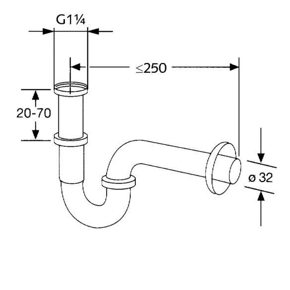 """KLUDI csőszifon 5/4""""x32 mm lefolyócső falirózsával"""