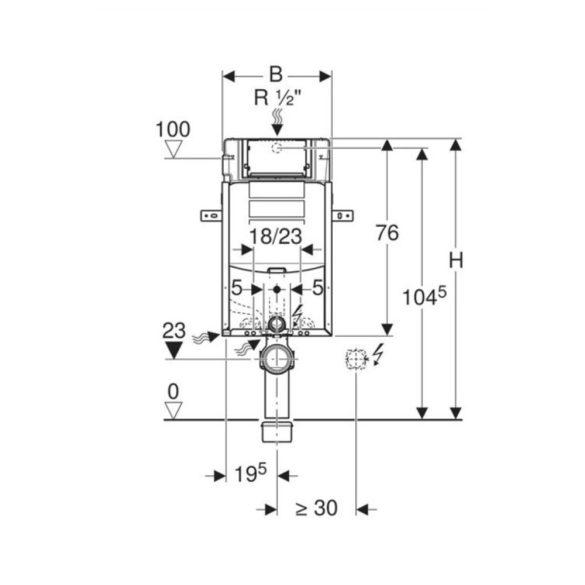 GEBERIT Kombifix WC szerelőelem UP320 tartállyal, falsík mögé építhető