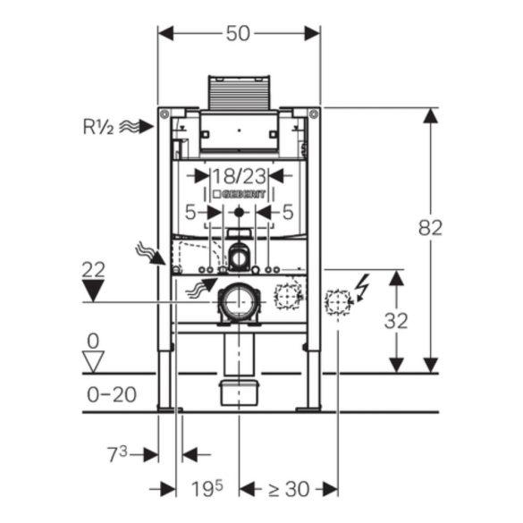 GEBERIT Duofix WC szerelőelem tartállyal, 12x82cm