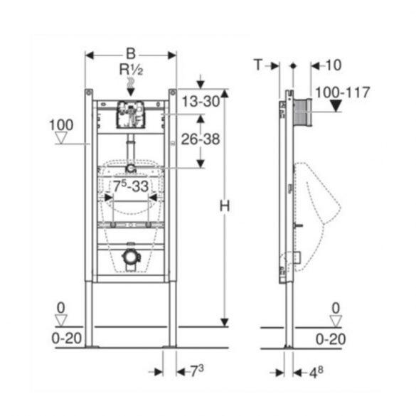 GEBERIT Duofix Basic vizelde szerelőelem, univerzális, 130cm