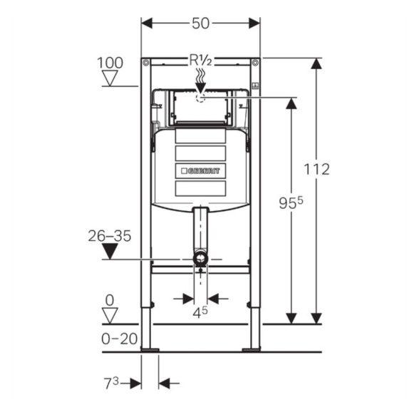GEBERIT Duofix WC szerelőelem, fali gyerek WC-hez, öblítőtartállyal, 12x112 cm