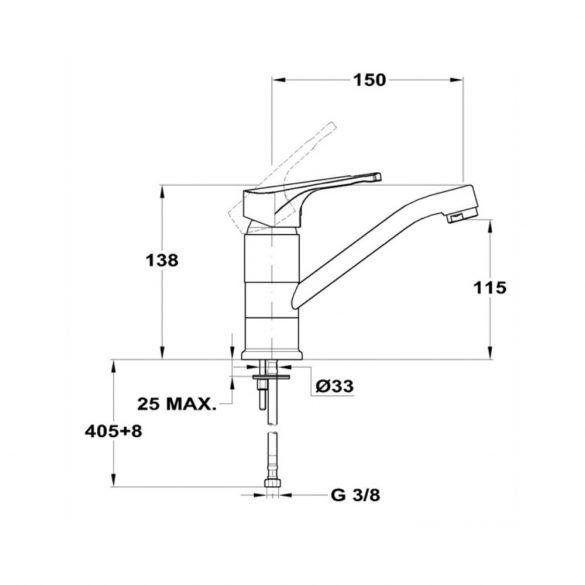 MOFÉM Junior Evo mosdó csaptelep, forgatható 150mm-es kifolyócsővel,flexi csővel - méretek