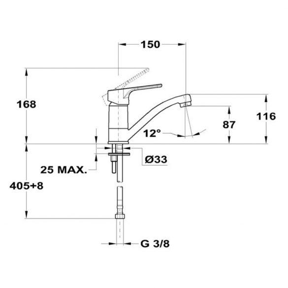 MOFÉM Pro mosdó csaptelep, egykaros, HP150 kifolyócsővel