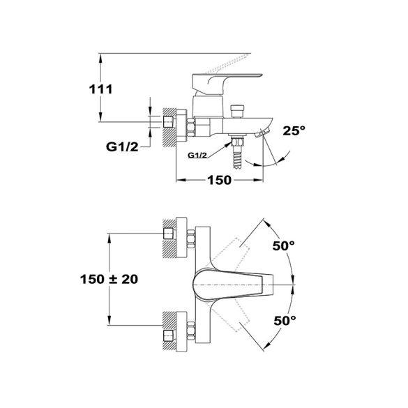 MOFÉM Trend Plus kádtöltő csaptelep zuhanyszettel (151-1501-00)