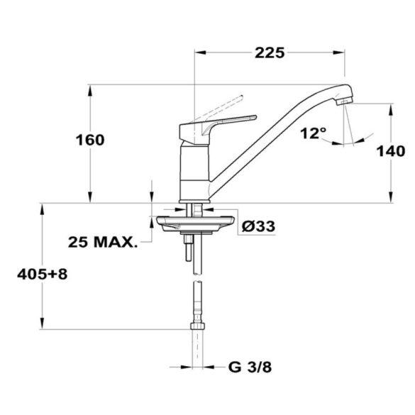 MOFÉM Pro mosogató csaptelep, egykaros, álló, HP225 kifolyócsővel