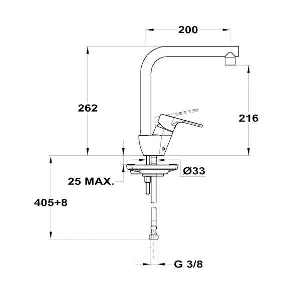 MOFÉM Pro mosogató csaptelep, egykaros, álló, 200mm-es kifolyócsővel