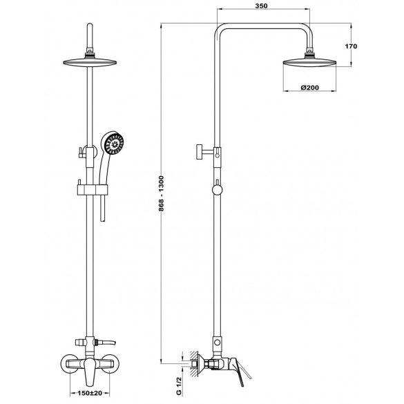 MOFÉM Junior Evo zuhanyrendszer teleszkópos felszállócsővel