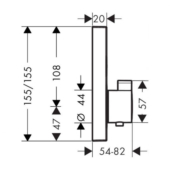 A HANSGROHE ShowerSelect falsík alatti termosztát méretei