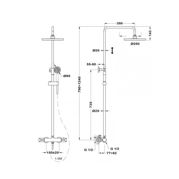 MOFÉM Junior Evo X termosztatikus zuhanyrendszer teleszkópos felszálló csővel