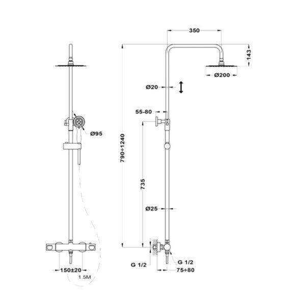 MOFÉM Zenit termosztatikus zuhanyrendszer
