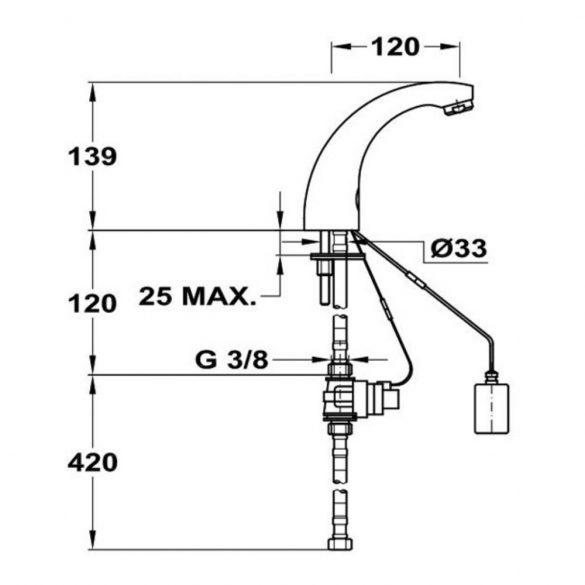 MOFÉM M-Tronic MLU 01 elektronikus mosdó csaptelep méretek