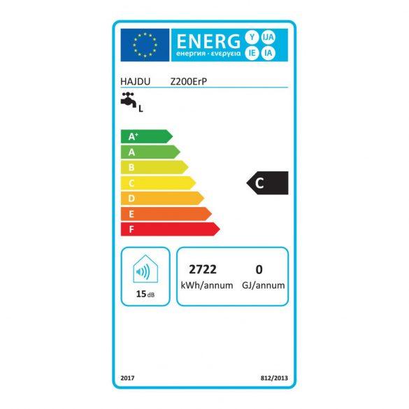 Energiacímke a HAJDU Z200 ERP tárolós, függőleges, fali, elektromos vízmelegítőhöz
