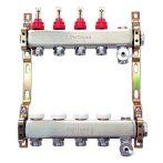"""FixTrend szelepes osztó-gyűjtő, inox, 4 körös, áramlásmérővel, eurok, 1""""x3/4"""""""