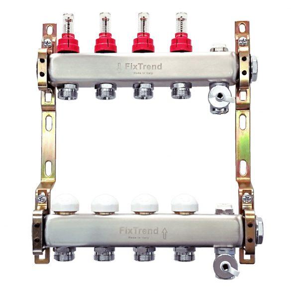 """FixTrend szelepes osztó-gyűjtő, inox, 5 körös, áramlásmérővel, eurok, 1""""x3/4"""""""