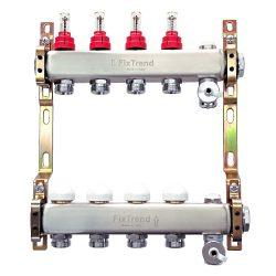 """FixTrend szelepes osztó-gyűjtő, inox, 10 körös, áramlásmérővel, eurok, 1""""x3/4"""""""