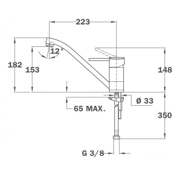 MOFÉM Sky egykaros, álló mosogató csaptelep, forgatható 225mm-es kifolyócsővel - méretek