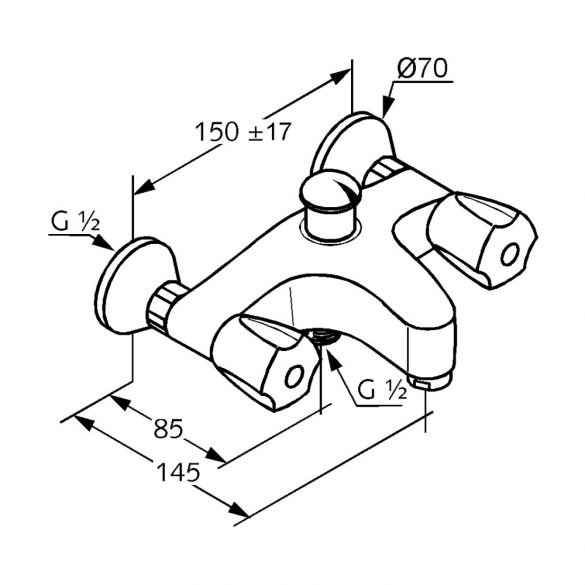 KLUDI Standard kádtöltő csaptelep vastag kifolyóval
