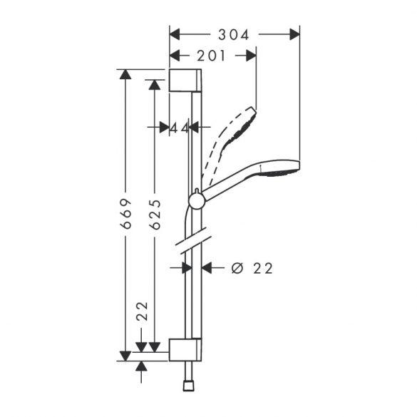HANSGROHE Croma Select E zuhanyszett image kép - Vario 65cm-es zuhanyrúddal csomagolt kivitel
