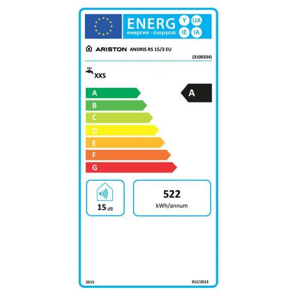 ARISTON AN RS 15 literes felső elhelyezésű villanybojler, ERP tárolós vízmelegítő energiacímke