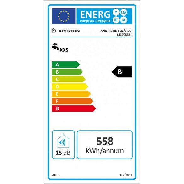 ARISTON AN RS 15 literes alsó elhelyezésű villanybojler, ERP tárolós vízmelegítő energiacímke