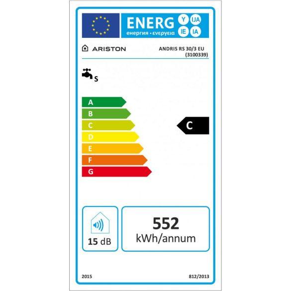 ARISTON AN RS 30 literes felső elhelyezésű villanybojler, ERP tárolós vízmelegítő energiacímke