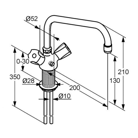 KLUDI Standard mosogató csaptelep, lengőkaros, lánctartóval