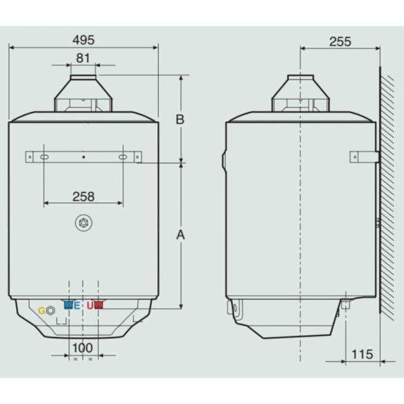 Az ARISTON S/SGA X  gázüzemű, kéményes, fali tárolós vízmelegítő beépítési méretei