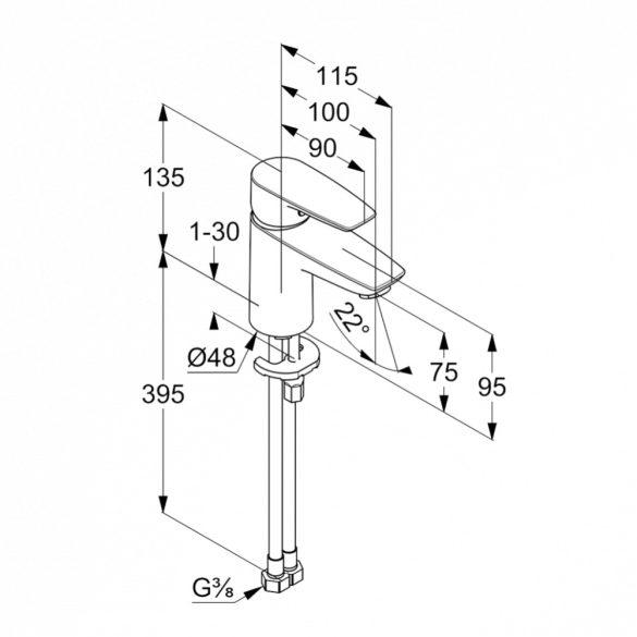 KLUDI Pure&Solid 75 mosdócsaptelep automata leeresztő szelep nélkül