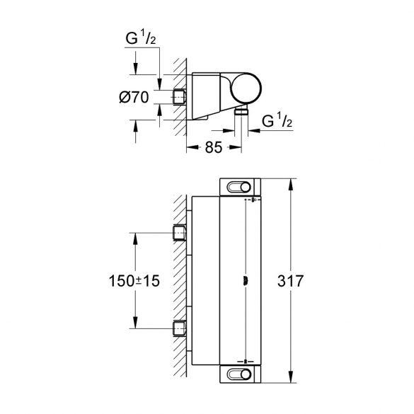 GROHE Grohtherm 2000 termosztatikus zuhany csaptelep