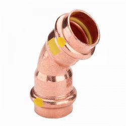 VIEGA 2626 Profipress G vörösréz ív, gázra, 45°, 2 tokos, 15mm
