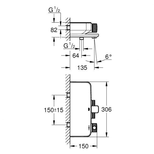 GROHE Grohtherm SmartControl termosztatikus kád csaptelep, króm