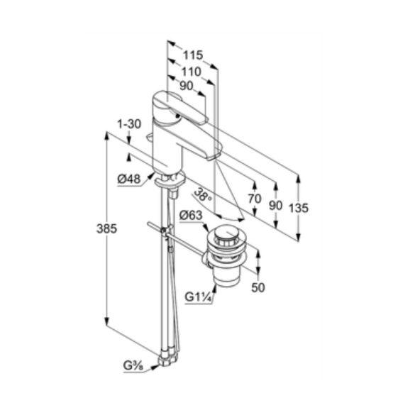 KLUDI Active 70 mosdócsaptelep automata leeresztő szeleppel