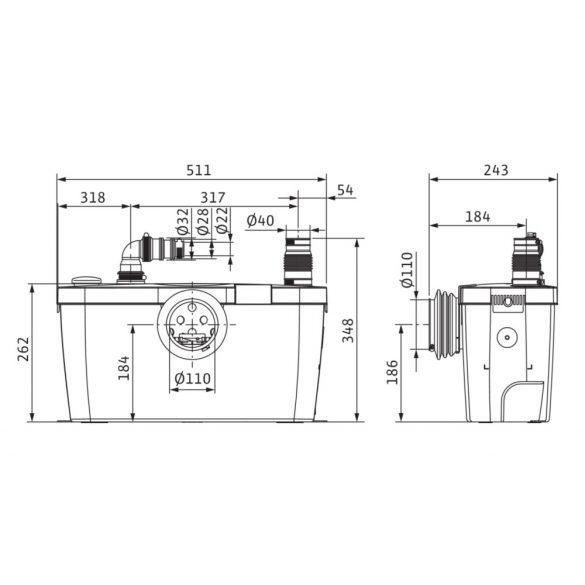WILO HiSewlift 3-15 szennyvíz-kisátemelőtelep, darálós, WC-mögé, 230V
