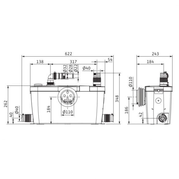 WILO HiSewlift 3-35 szennyvíz-kisátemelőtelep, darálós, WC-mögé, 230V
