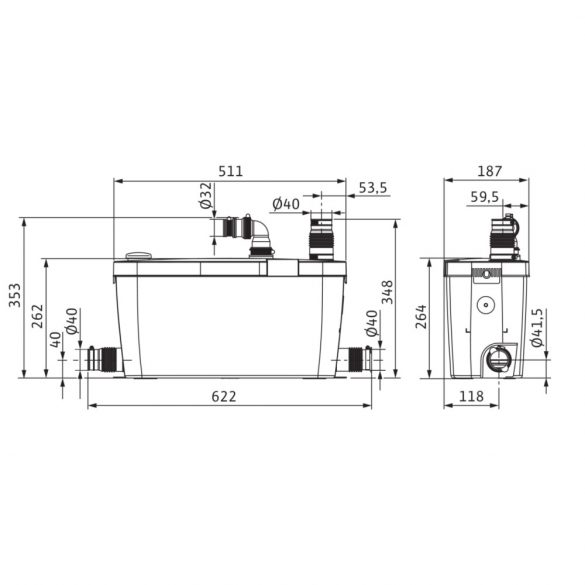 WILO HiDrainlift 3-35 szennyezettvíz átemelő telep, padozat fölé, 230V